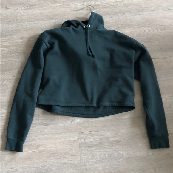 H&M Tops - OVERSIZED CROPPED GREEN HOODIE (LIKE NEW)!